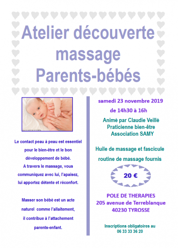 Flyer massage bebe  23 novembre 2019